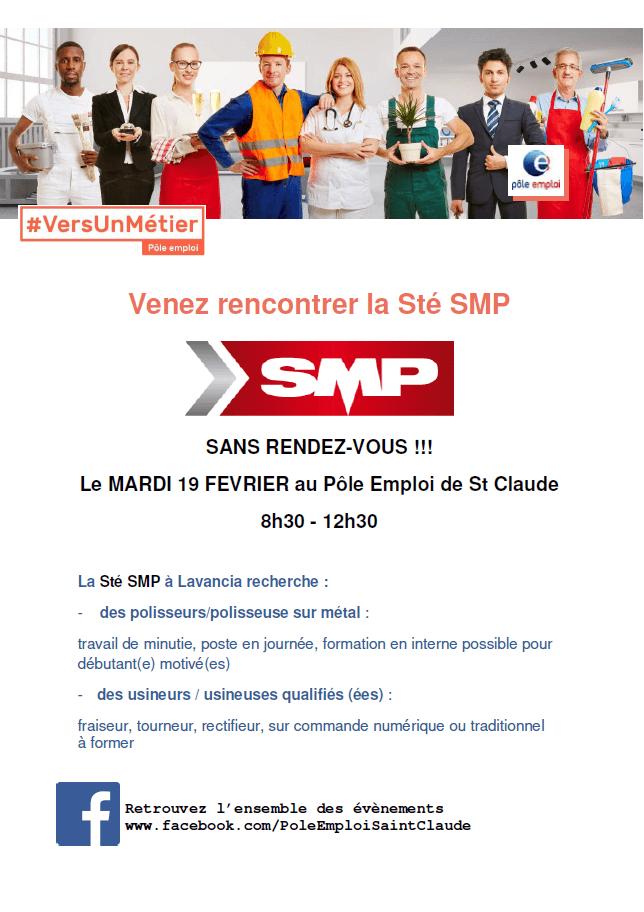 Affiche Hall du Recrutement _ Pôle Emploi.  Les métiers où SMP recrutent.