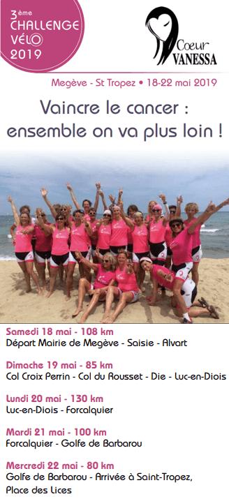 Programme du 3ème challenge vélo pour vaincre le cancer !